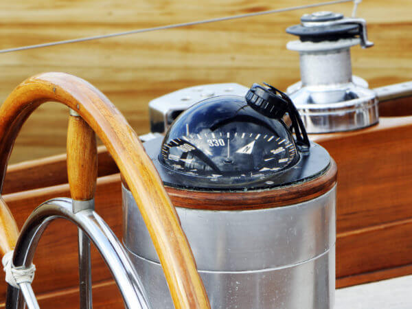 Compass on boat